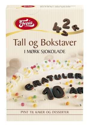 Prøv også Freia sjokoladedekor bokstaver og tall.