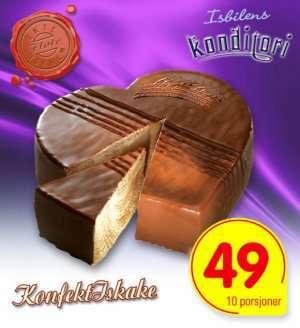 Prøv også Isbilen konfektiskake med sjokoladeis og creme vanilje.