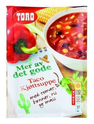 Prøv også Toro taco kjøttsuppe med tomat, bønner, ris og mais.