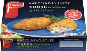 Prøv også Findus Kapteinens Fylte Torsk med bacon og kremet saus.