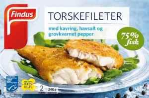 Prøv også Findus Torskefileter med kavring, havsalt og grovkvernet pepper.