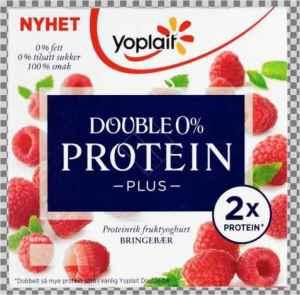 Prøv også Yoplait Double 0% Protein Plus Bringebær.