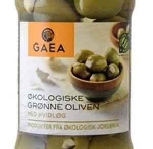 Bilde av Gaea Økologisk Grønn Oliven med hvitløk.