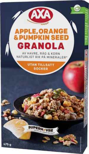 Prøv også Axa apple orange and pumpkin seed granola.