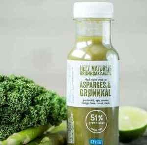 Prøv også Cevita helt naturlig grønnsaksjuice med mest smak av asparges og grønnkål.