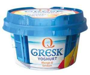 Prøv også Q gresk yoghurt mango og fersken.