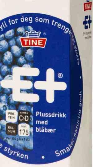 Prøv også Tine E+ drikk blåbær.