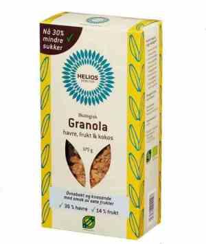 Prøv også Helios granola, havre, frukt og kokos.