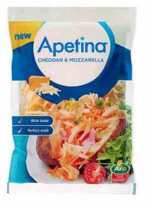 Prøv også Arla Apetina revet cheddar og mozzarella.