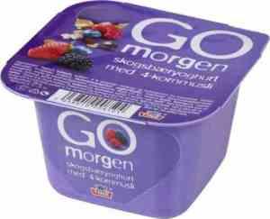 Prøv også Tine Go morgen Skogsbæryoghurt med 4-kornmusli.