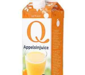 Prøv også Q appelsinjuice.