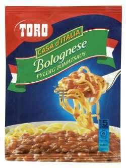 Prøv også Toro bolognese fyldig tomatsaus.