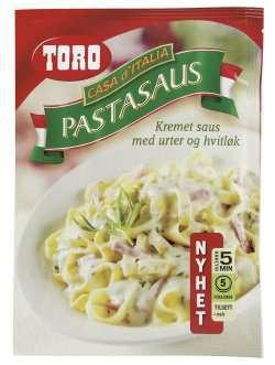 Prøv også Toro kremet pastasaus med urter og hvitløk.