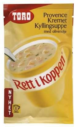Prøv også Toro Rett i Koppen Provence kremet kyllingsuppe med olivenolje.
