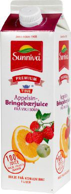 Les mer om Tine Sunniva Premium Appelsinjuice med Bringeb�r fra Vik i Sogn hos oss.