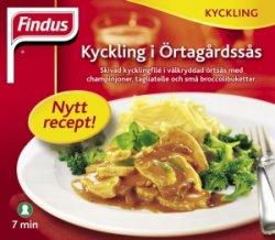 Prøv også Findus kyckling i Urtegårdssaus.