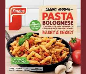 Prøv også Findus Pasta Bolognese.