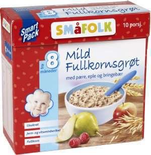 Prøv også Småfolk Mild fullkornsgrøt pære, eple og bringebær.