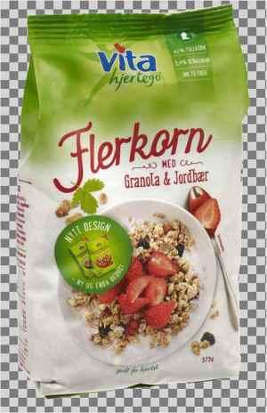 Prøv også Vita hjertego flerkornblanding med jordbær og granola.