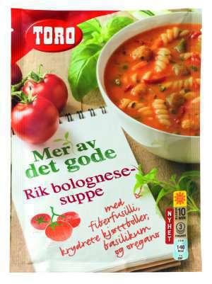 Prøv også Toro Rik Bolognesesuppe med fiberfusilli, krydrete kjøttboller, basilikum og oregano.