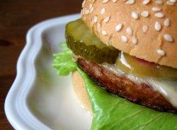 Prøv også Hamburger, enkel, med brød, dressing mv, kjøpt.