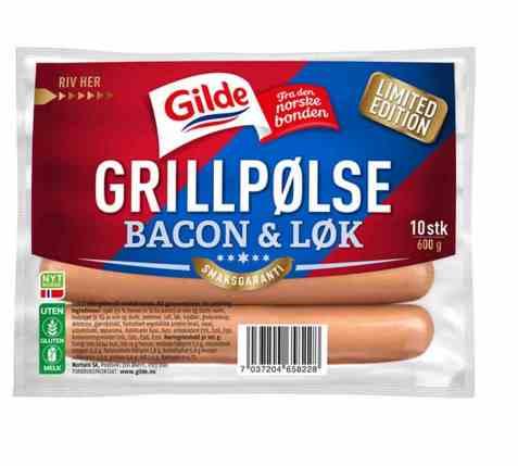Bilde av Gilde grillpølse med bacon og løk.