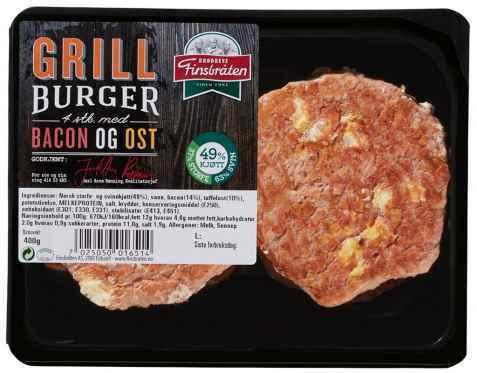 Bilde av Finsbråten grillburger med bacon og ost.