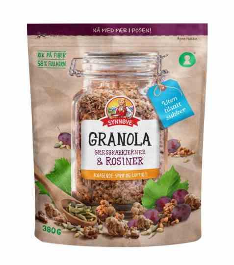 Bilde av Synnøve granola med gresskarkjerner og rosiner.